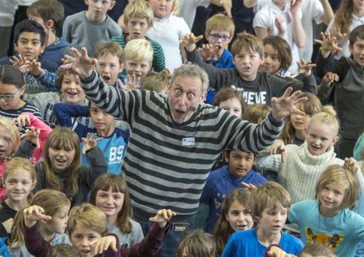 Michael Rosen at Coleridge Community College. Picture: Keith Heppell