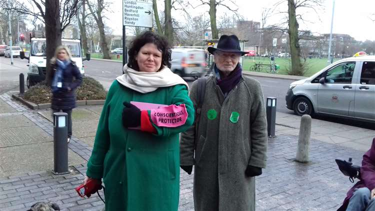 Angela Ditchfield of King's Hedges Green Party with Professor Tony Booth. Picture: Mike Scialom