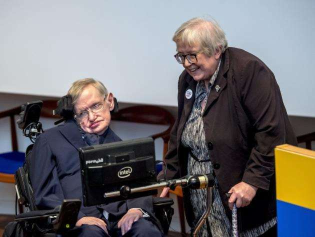 Prof Stephen Hawking. with his sister Dr Mary Hawking, at the Moller Centre commending his fathers role in progress towards NTD elimination, whilst celebrating delivering one billion treatments for NTD at an event organised by UK charity Sightsavers. Picture: Keith Heppell