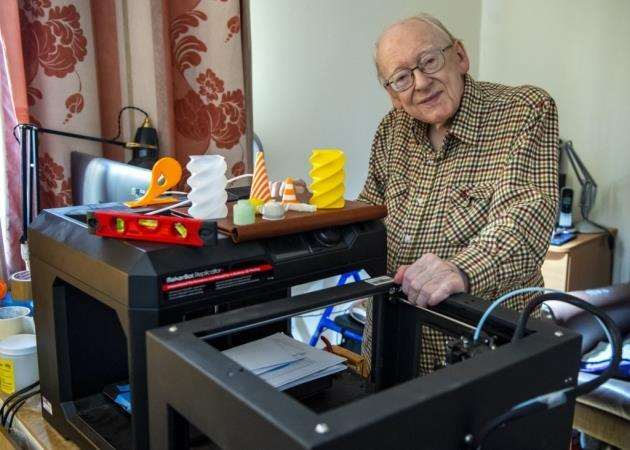 John Downes at Home Meadow care home, Toft, with some of his 3D printers. Picture: Keith Heppell