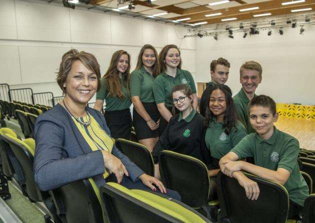 Jenny Rankine with pupils in the performance hall. Picture: Keith Heppell