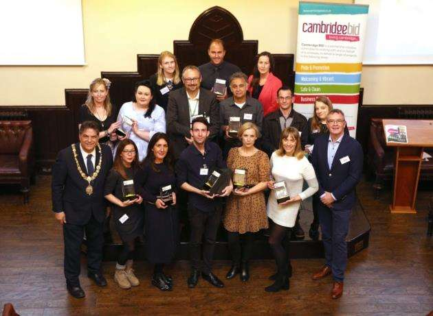 Winners of the Cambridge BID Awards 2017 with the mayor, left, and Ian Sandison, right. Picture: Richard Marsham