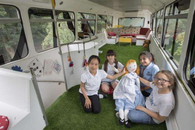 Mayfield Primary School pupils have launched a fundraising campaign to raise £8,000 to redecorate the schools reading bus, which sits in the playground. Picture: Keith Heppell