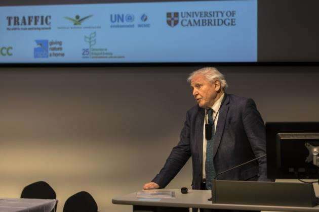 Sir David Attenborough giving his closing speech at the public lecture in Cambridge. Picture: Toby Smith/Cambridge Conservation Initiative