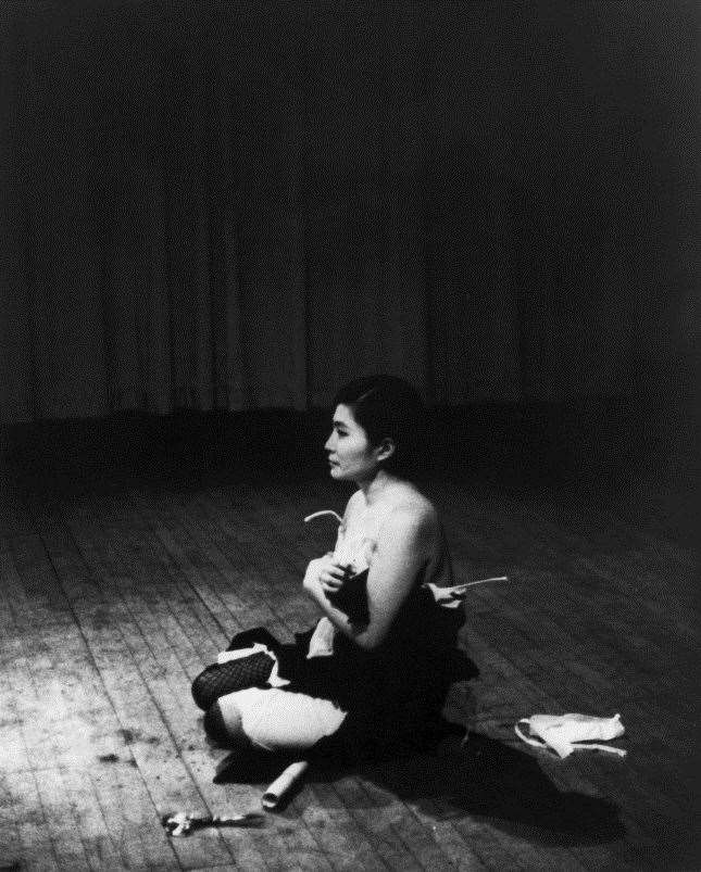 Yoko Ono at the original 'Cut Piece'. The 2019 performance piece, with a new model, will take place at ARU at Ruskin Gallery in October. Picture: Minoru Niizuma Copyright: Yoko Ono