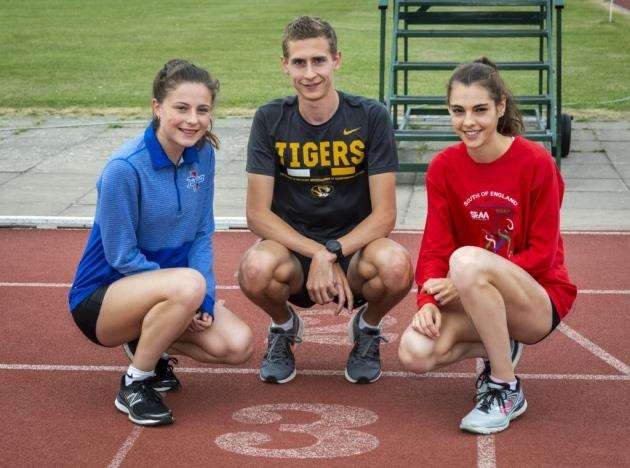 Athlete Kieran Wood, who is going out to study and run on a scholarship in Missouri, with right Julia Paternain and left Alice Newcombe. Picture: Keith Heppell