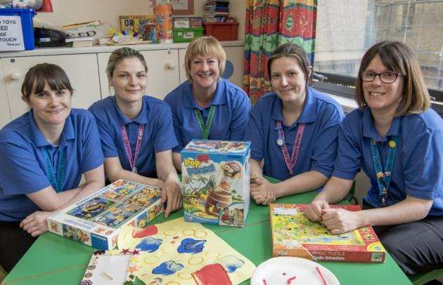 Addenbrookes Hospital, Hills Rd, Cambridge, play specialists from left Vicki Brown, Sheena Belham, Stephanie Fairbain, Emma Meade, Kat Collen . Picture: Keith Heppell