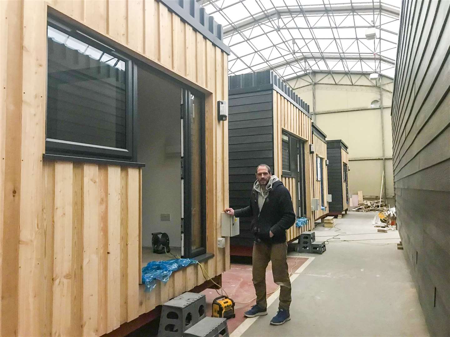 Steve Hadaway, a former soldier with the Royal Anglian Regiment who suffered combat PTSD, seen here at Waterbeach Barracks where the modular homes for the homeless have been built. Steve served his country bravely and is now serving his community through his work as a carpenter