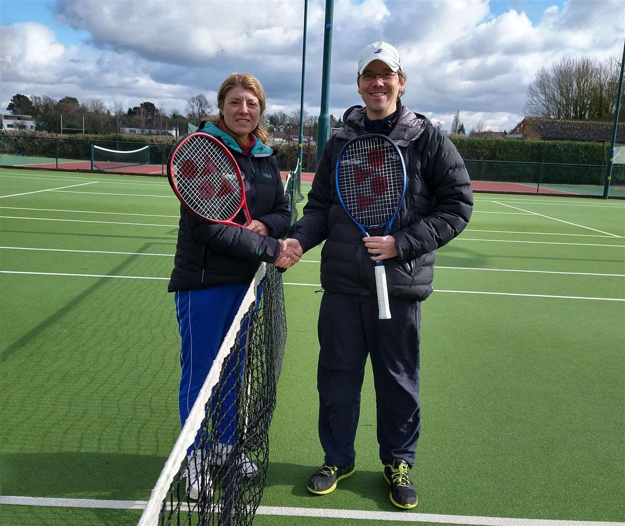 Teresa Catlin, left, takes the reins from James Mills at Cambridge Lawn Tennis Club