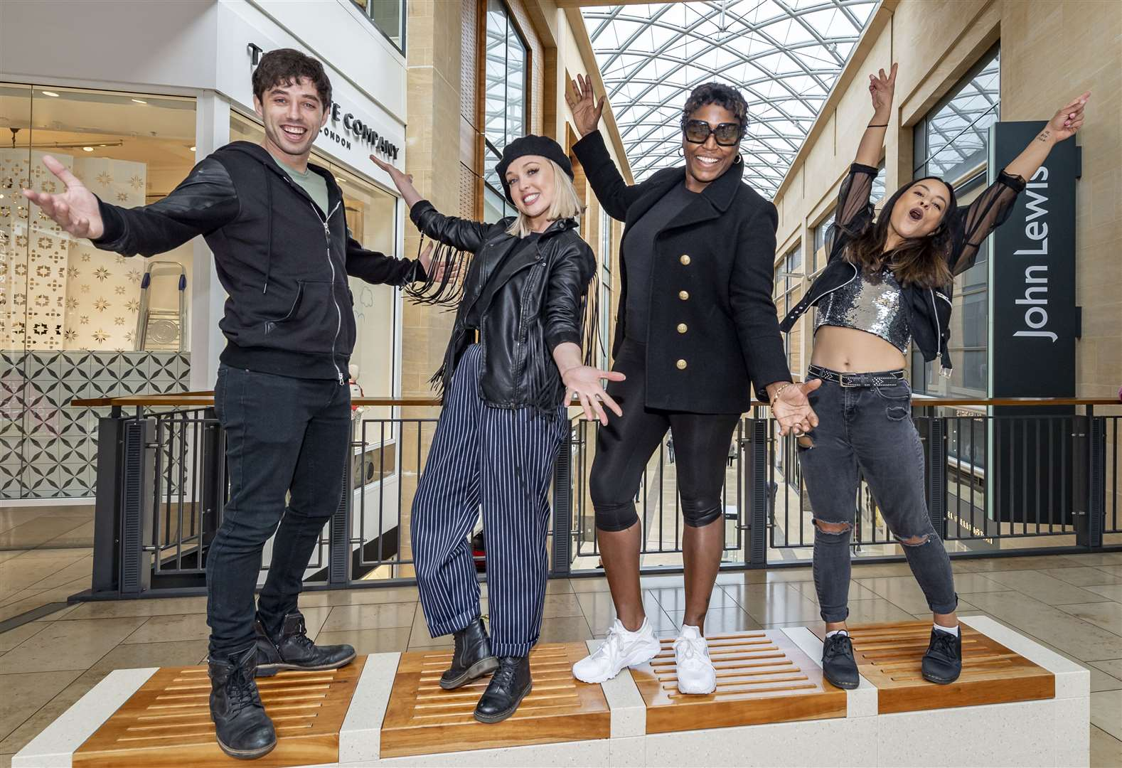 Fame cast from left Keith Jack, Jorgie Porter, Mica Paris and Steph Rojas, appearing at the Arts Theatre, seen here in the Grand Arcade. Picture: Keith Heppell. (9540793)