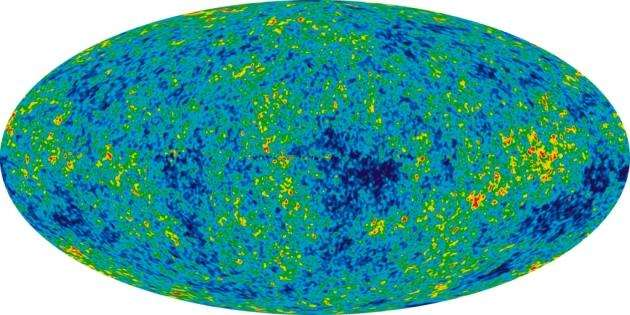 The Cosmic Microwave Background: The relic radiation from the Big Bang. This detailed, all-sky picture of the infant universe was created from nine years of WMAP data and reveals 13.77-billion-year-old temperature fluctuations (shown as color differences) that correspond to the seeds that grew to become the galaxies. Image: NASA / WMAP Science Team