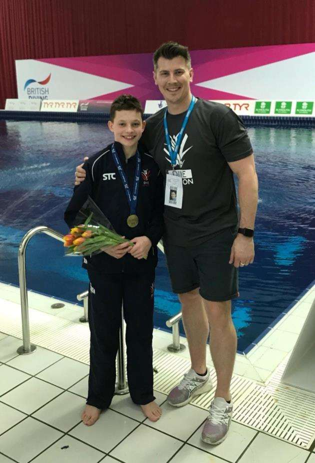 Diving ace Ben Cutmore and coach Sam Buck.