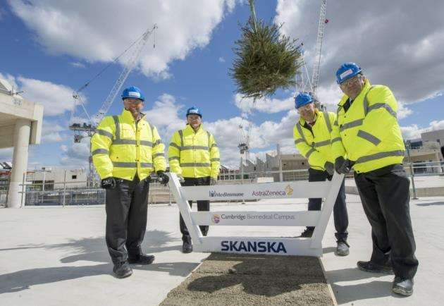 AstraZenecas topping-out ceremony at Cambridge Biomedical Campus - Mene Pangalos, Pascal Soriot, Anders Danielsson, and Duncan Maskell. Picture: Keith Heppell