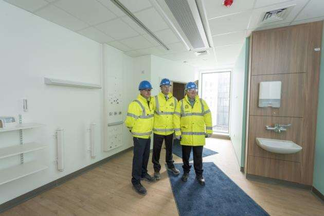 Papworth Hospital site visit on the Biomedical Campus, Dr Will Davies Consultant Cardiologist (left) with Papworth Chief Executive Stephen Posey and Chairman, Professor John Wallwork. Picture: Keith Heppell