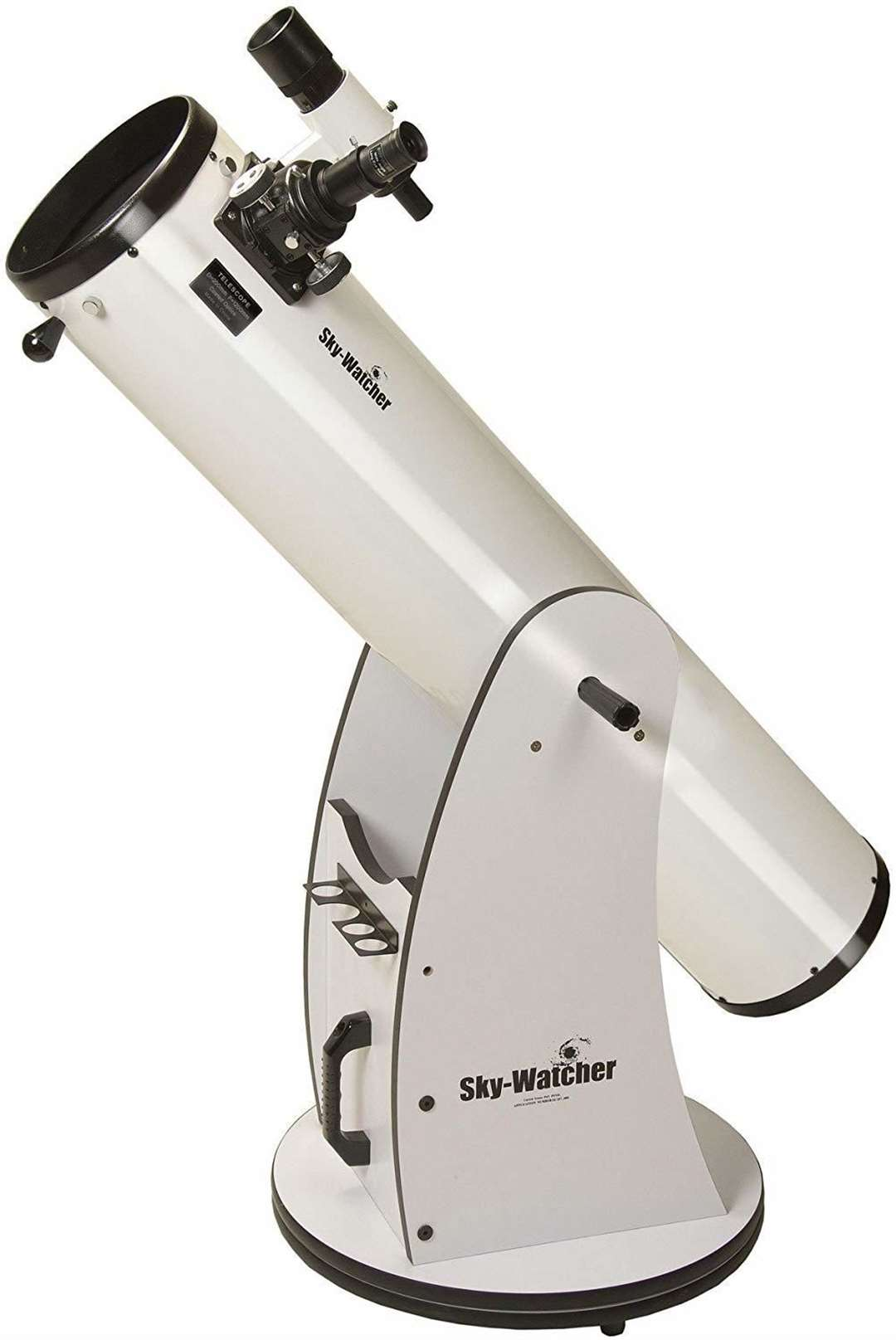 A Sky-Watcher telescope with a Dobsonian mount