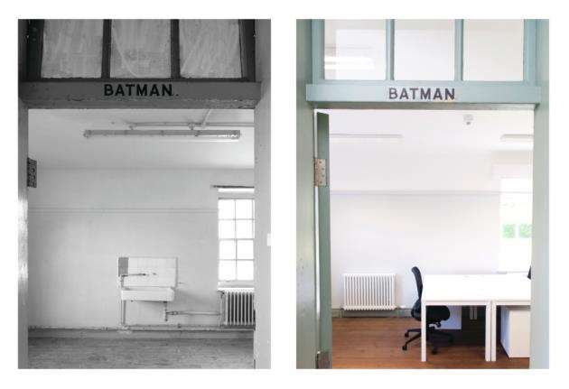 Batman room before and after the renovation at The Officers Mess