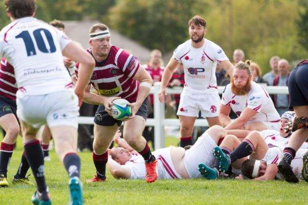 Shelford Rugby Club captain Richy McIver touches down against Sidcup. Picture: Cat Goryn