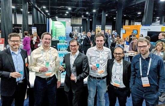 The Petagene team post their third Best of Show award at the 2019 Bio-IT World Conference & Expo. Picture: Petagene (9297508)
