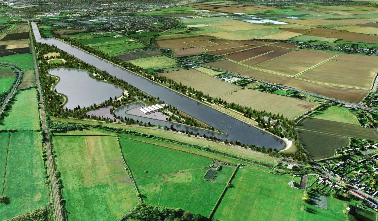 An aerial view of the proposed Cambridge Country Park and Sport Lakes (43323922)