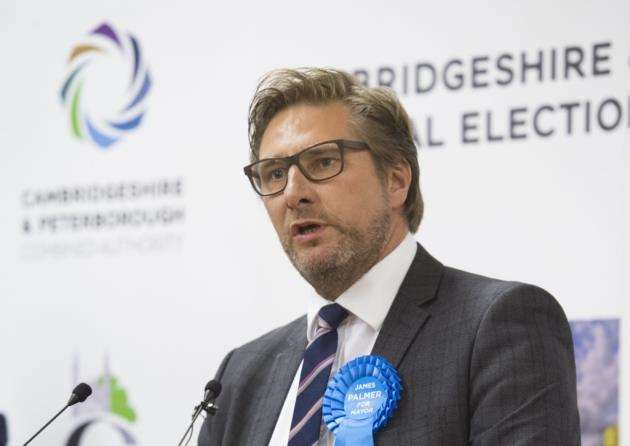 Cambridgeshire Mayoral election count at Ross Peers Sports Centre, Soham, James Pryor acceptance speech . Picture: Keith Heppell