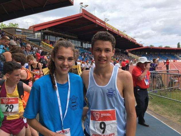 Gold medalists Julia Paternain and Thomas Keen at the English Schools AA Track and Field Championships. Picture: Siobhan Skinner