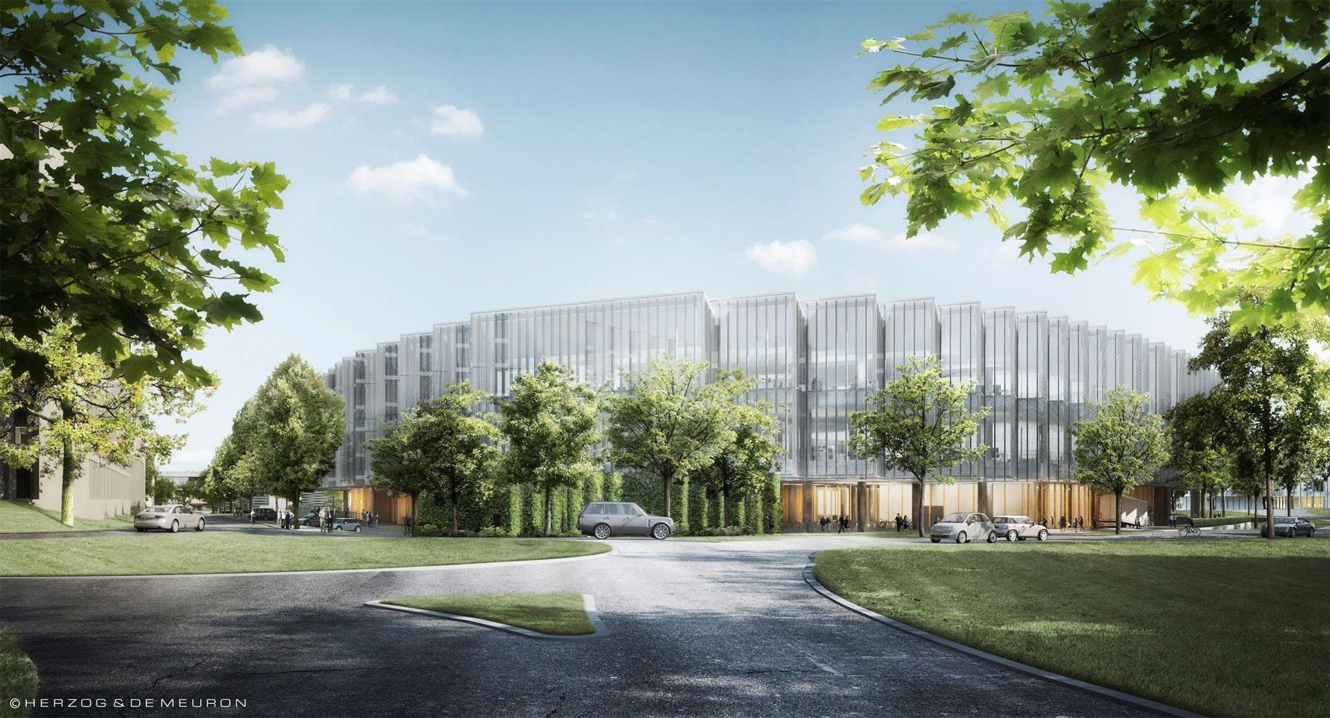 Concept drawing of AstraZeneca at Cambridge Biomedical Campus - view from Robinson Way. (6248816)