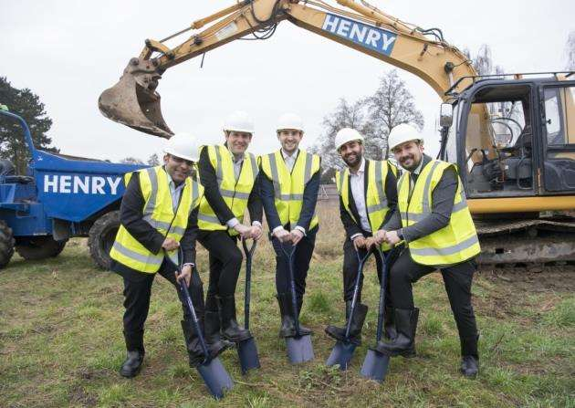 Ground breaking at the Aparthotel site next to Cambridge Manor Care Home off Milton Road with from left, Gagan Puri, Dan Rowley, Will Neal, Paavan Popat, and Giovanni Valentini. Picture: Keith Heppell