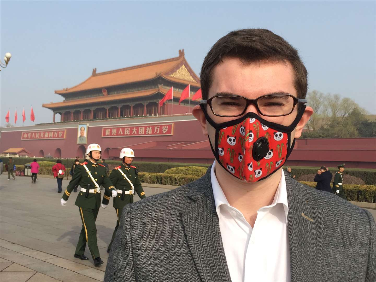 Cambridge mask Company owner Chris Dobbing in Beijing