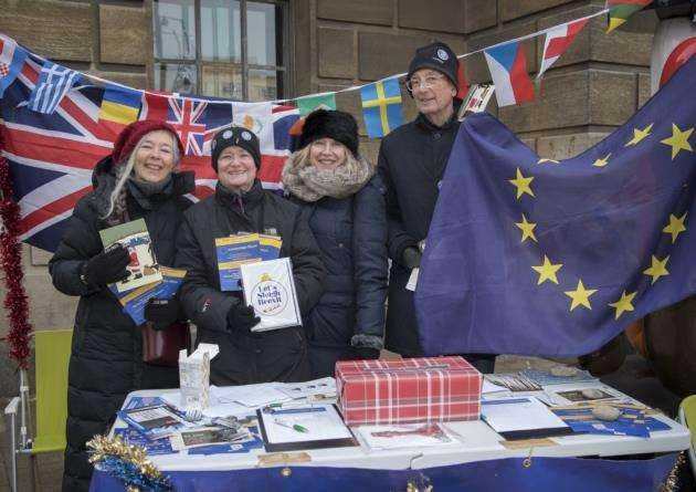 Grassroots pro-European campaigners supporting the European Movement UK national Action Day with a stall in Market Square, Cambridge. Picture: Keith Heppell