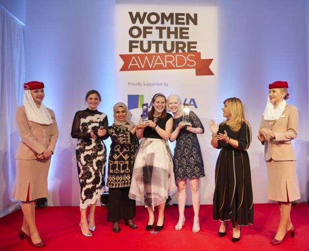 Sarah Leiter, third from right, at the Women of the Future Awards. Picture: Erroll Jones