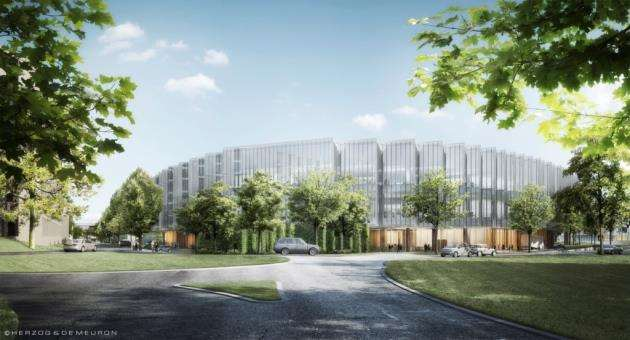Concept drawing of AstraZeneca at Cambridge Biomedical Campus - view from Robinson Way