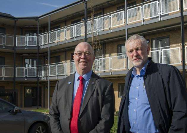Jeremy Corbyn in Cambridge social at the social housing scheme in Chesterton, Cambridge seen with Councillor Kevin Price (left). Picture: Keith Heppell