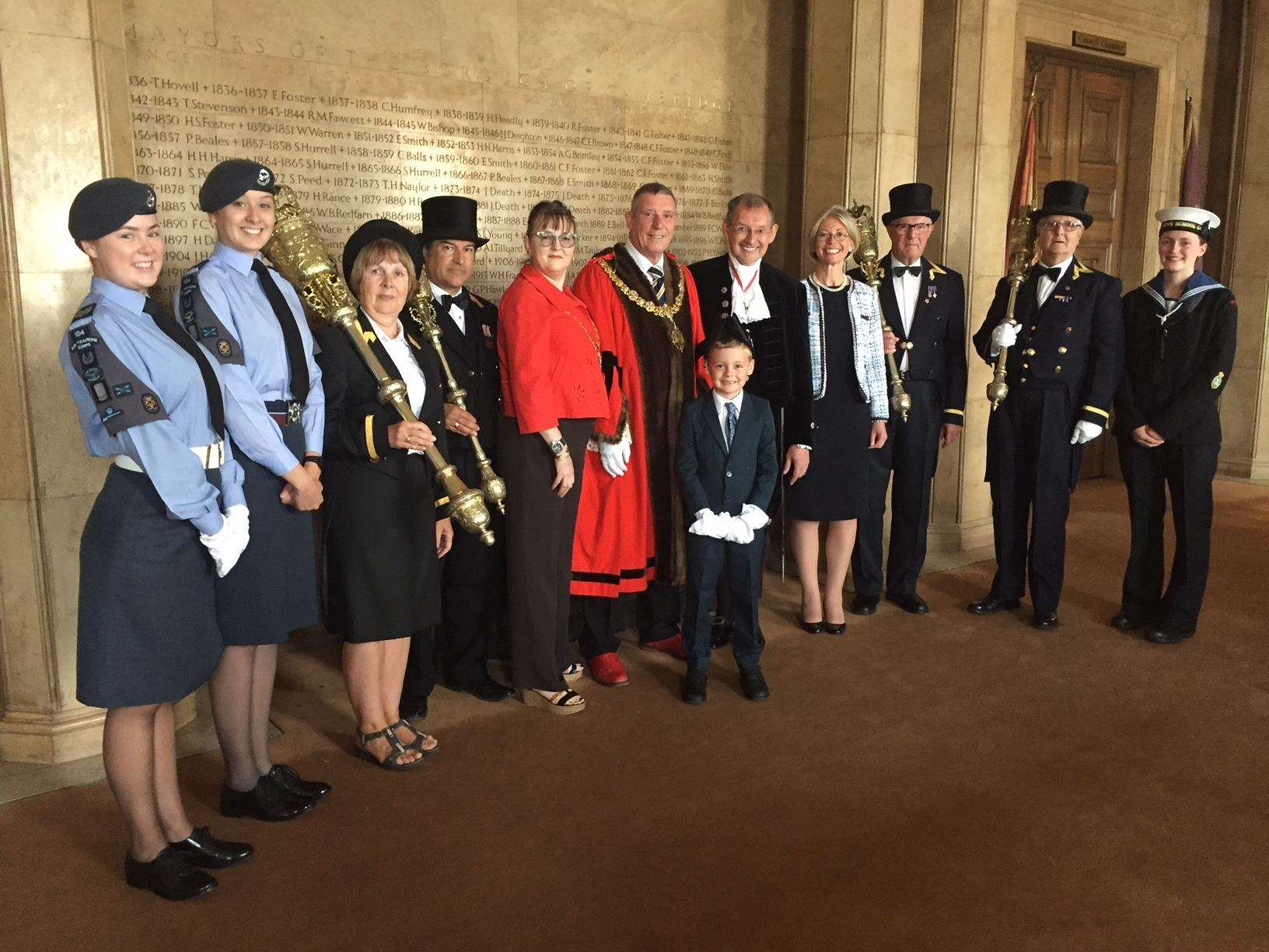 Cambridge mayor Nigel Gawthrope and, to his left, High Sheriff Andy Harter and deputy lieutenant of Cambridgeshire Lily Bacon