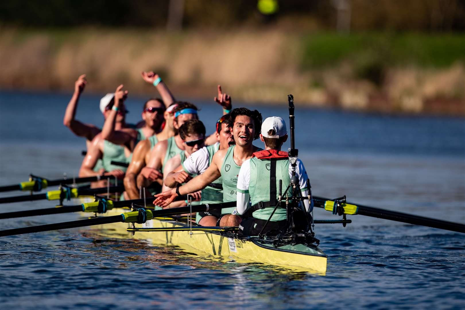 Cambridge University Boat Club celebrate winning the 166th Men's Boat Race. Picture: Lucinda Douse/Row 360 (45823356)