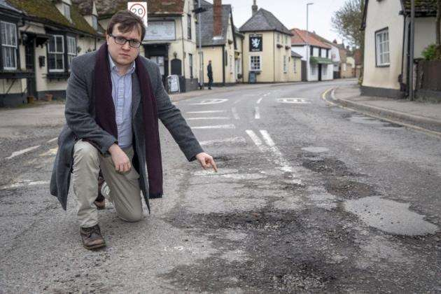 Rob Grayston highlighted a pothole problem in Sawston. Picture: Keith Heppell