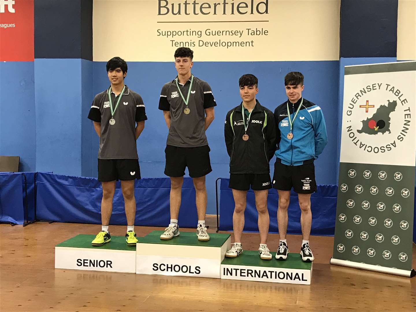 Sam Chesterman on the top step of the podium at the Table Tennis Senior Schools' International. Picture: Guernsey Table Tennis Association (13287335)