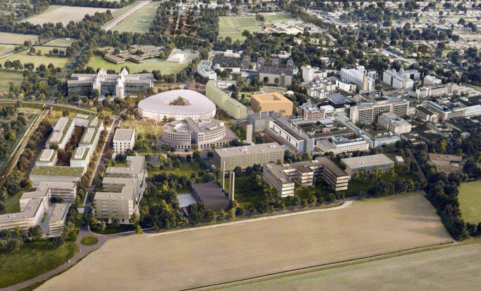 The location of the Cancer Research Hospital on the Cambridge Biomedical Campus. Image: Northmores (7508185)