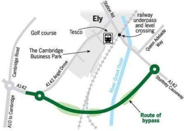 Ely Southern Bypass map