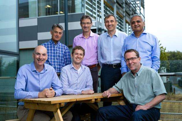 Back, from left, SWIM.AI director Mark Masur, CTO Simon Crosby, CSO and CMO Simon Aspinall, CPO Ramana Jonnala. Front, from left, CIC's investment director Andrew Williamson, Chris Sachs, founder and chief architect of SWIM.AI, and CEO Rusty Cumpston. Picture: StillVision Photography