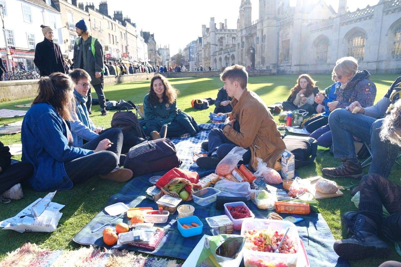 Extinction Rebellion activists on the lawn of King's College, Cambridge. Picture: Thomas Dorrington / XR (29118794)