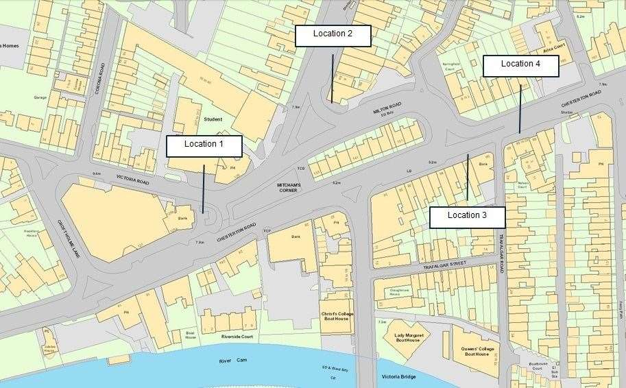 Map showing the four potential parking locations around Mitcham's Corner (7676690)