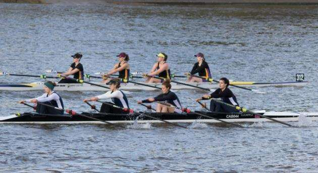 Cantabrigian Rowing Club Challenge Quads B crew at the Fours Head. Picture: Chris Radbone