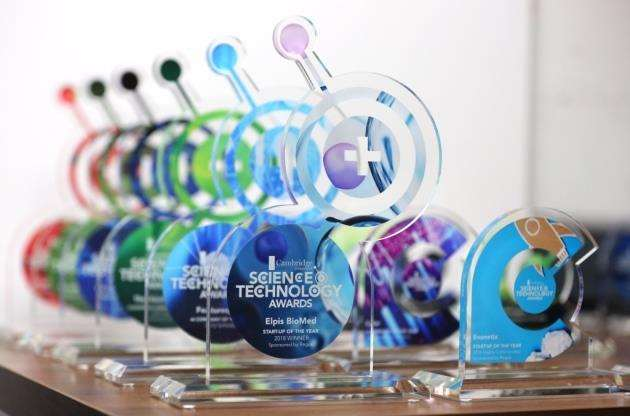 The trophies for the Cambridge Independent Science and Technology Awards 2018. Picture - Richard Marsham