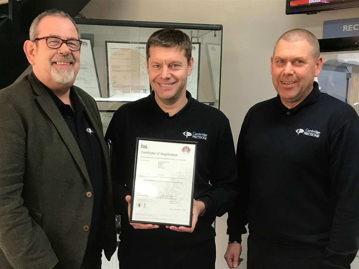 Andrew Wierny, Nick Raven and Tony Murray, of Cambridge Precision, celebrate the new ISO accreditation (6790132)