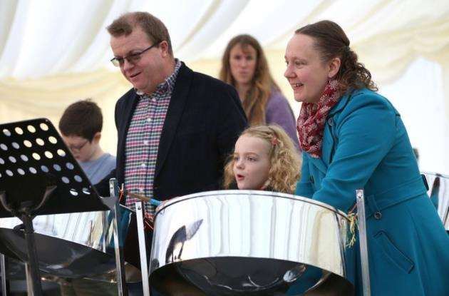 Homerton College 250 years festival. Visitors enjoy taking part in the steel drum workshop Picture: Richard Marsham