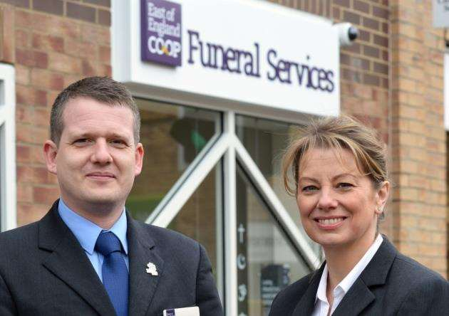 David Downes, left, and Tracy Gardner at the new East of England Co-op Funeral Services branch in Sawston