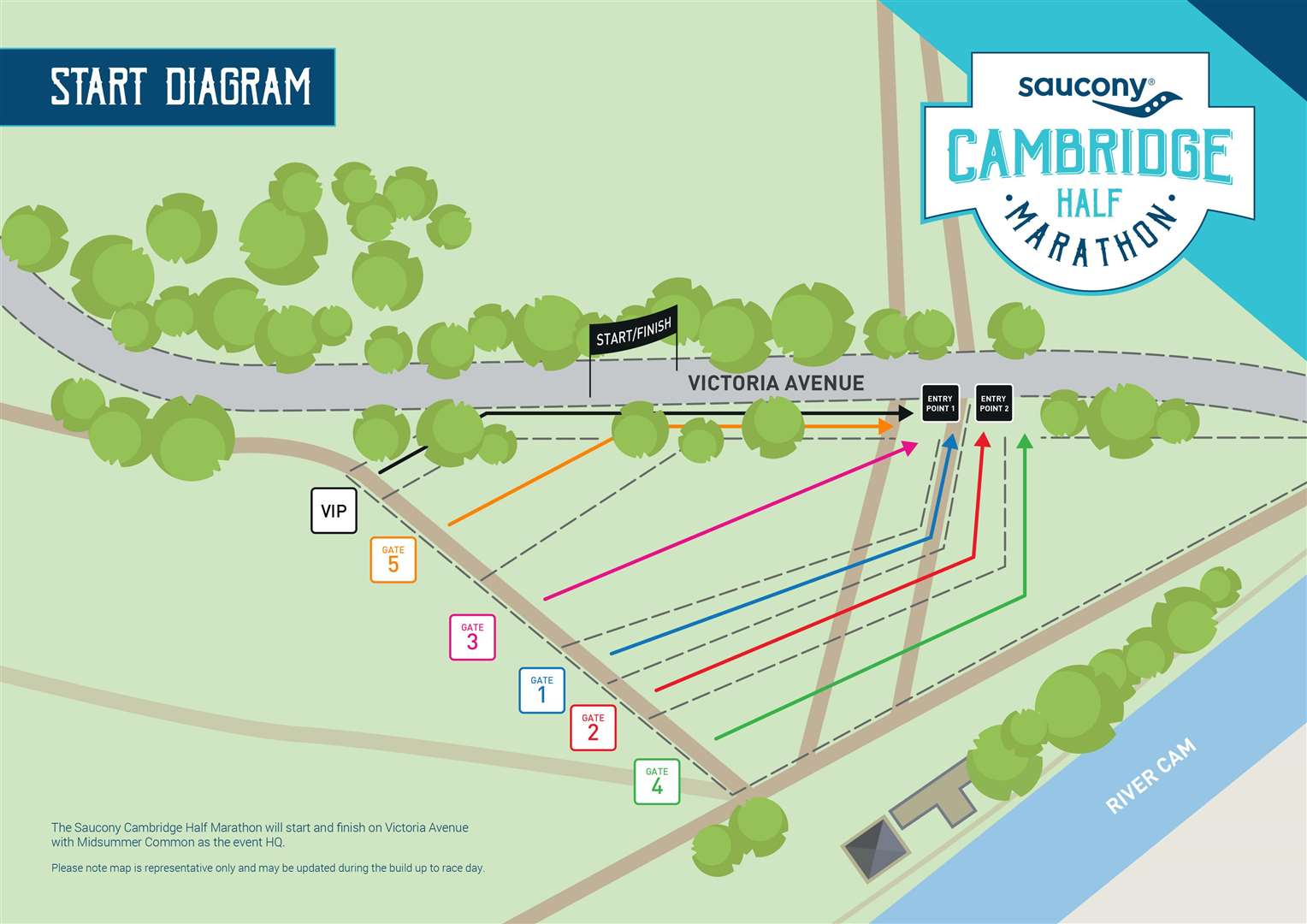 The site plan for the start of the 2019 Saucony Cambridge Half Marathon (7523887)