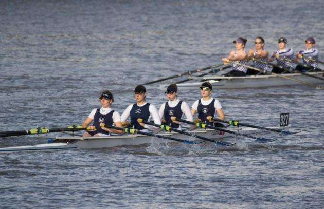 Cantabrigian Rowing Club Challenge Quads A crew at the Fours Head. Picture: Chris Radbone