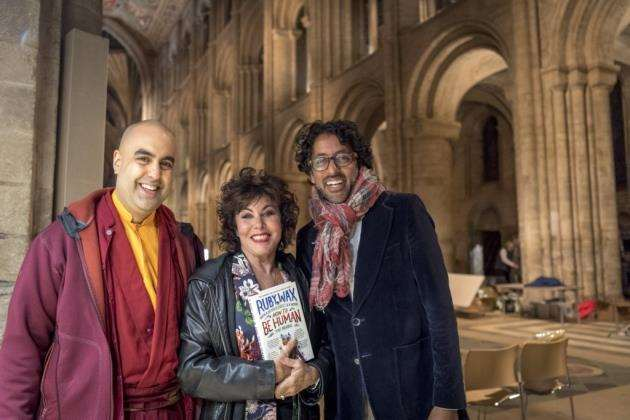 Ruby Wax in Ely with neuroscientist Ash Ranpura and Tibetan monk Gelong Thubten. Picture: Keith Heppell