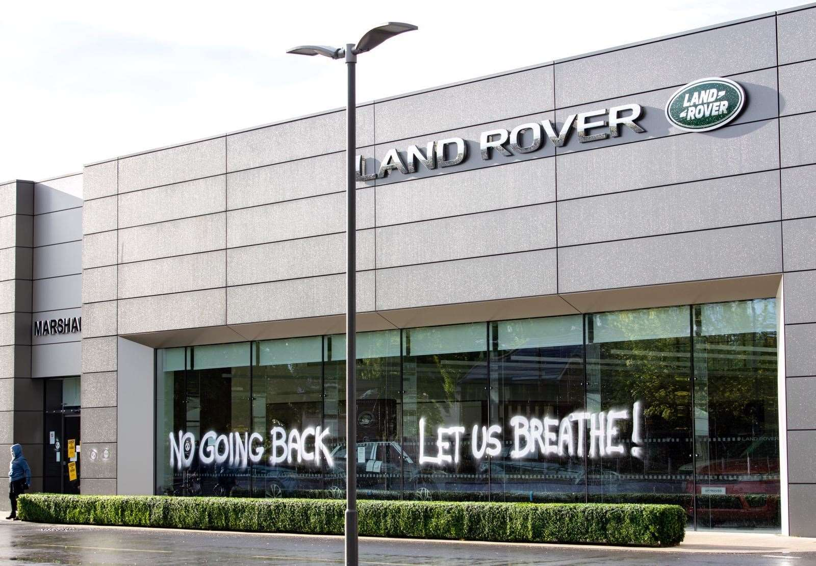 The Marshall Range Rover dealership on Newmarket Road following the protest
